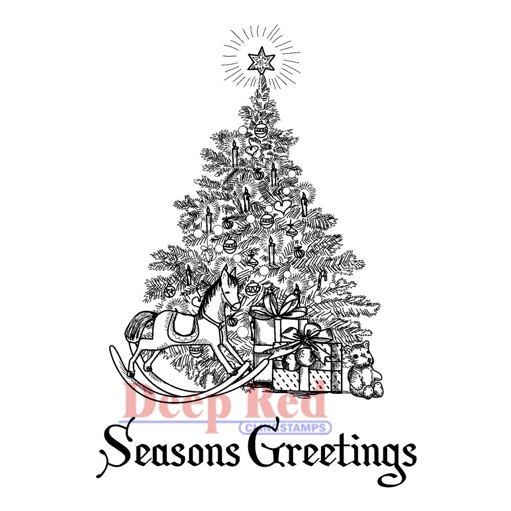 cling stamp season s greetings tree deep red stamps cling stamp season ...